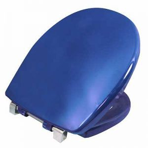 Twyford Avlon Toilet seat and cover With stainless steel top fix hinges and stability buffers Blue AV7865BE / 5024959368825