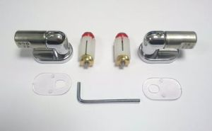 Saneux INDY Soft Close Seat Hinges & Fixings 2005010, used with the Saneux I-line 60633 White Soft Close seat, hinges come in Chrome with erxpansion toggles for top fixing/Mounting